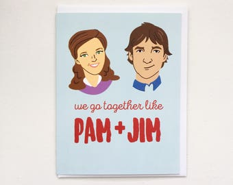 The Office TV show card - Pam and Jim Card, Romance, Love Anniversary Card