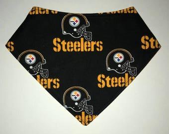 Bandana Baby Bib Made From NFL Pittsburgh Steelers Football Print Fabric