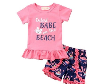 New baby girl outfit cutest on the beach tshirt + ruffles short new summer collection 2018 12m to 5t