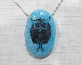 Owl Necklace, Blue Pendant, Bird, Aviary, Owl, Fused Glass Pendant, Oval Pendant, Fused Glass Jewelry - Bright Idea -7