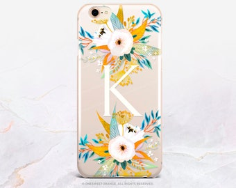 Personalized iPhone 8 Case iPhone X Case iPhone 7 Case Floral GRIP Rubber Case iPhone 7 Plus Clear Case iPhone SE Case Samsung S8 Case U368