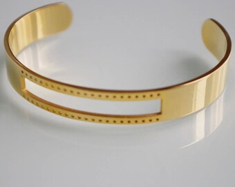 1 bracelet made of steel - gold Bangle - accessory for weaving # 859