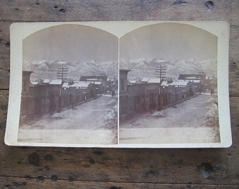Stereoscope Cards Stereoviews by Charles Emery 1880, Evening View Main St Silver Cliff Colorado 3d Photos