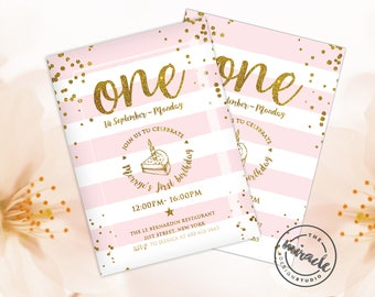 Kids party invitation - First birthday girl - Pink and Gold Invitation - Girl's First Party Invite - Birthday Party Invitation