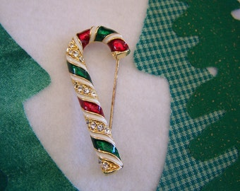 "Vintage 80's ""CANDY CANE"" BROOCH / Pin Christmas"