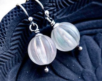 Ghostly Drop Earrings, Drop Earrings, Orb Earrings, Dangle Earrings, Lucite Earrings, Sterling Silver, Halloween Earrings, PoleStar