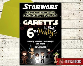 Star Wars Invitation, Star Wars Birthday Photo Invitation, Star Wars Birthday, Starwars Party, Party, Star Wars, Boy, Digital, Print, invite