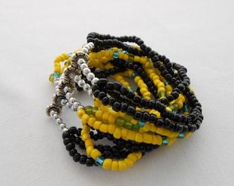 Seed Bead Bracelet Black Yellow