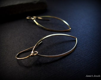 Hoop Earrings   - Gold Hoop Earrings - Bronze Gold Marquis Hoop - Minimal Gold Earrings - Modern Gold Earrings - Delicate Hoop Earrings