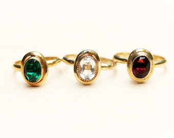 Gold Filled Stone Ring, Oval Stone Ring, Stone Ring, Gold Filled Ring, Glass Ring, Gold Gemstone Ring, Gem Ring