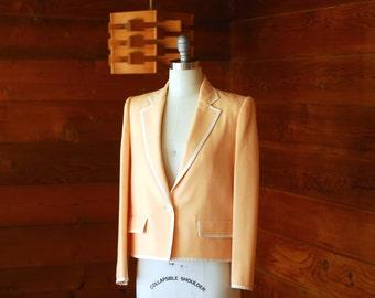 vintage Oscar de la Renta peach and white wool jacket / size medium