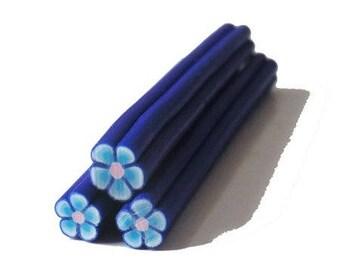 1 x cane polymer clay flower blue