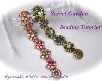"Beading tutorial ""Secret Garden"" bracelet instant download PDF file"