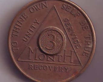 AA Alcoholics Anonymous Token Lucky Piece Charm Exonumia 3 Months