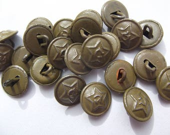 10 x Original 14 mm 1941 style green uniform buttons.  RKKA  genuine item