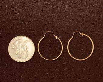 14 Karat Gold Hoop Earrings with Hinge Loop 0.95 inch 24mm amost