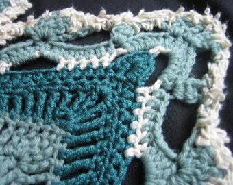 Unique Handmade Shawl 'Seafoam' Crocheted in Waves of Teal, Aqua, Cream. Luxurious Heirloom Mandala Shawl Ideal for Weddings, Meditation etc