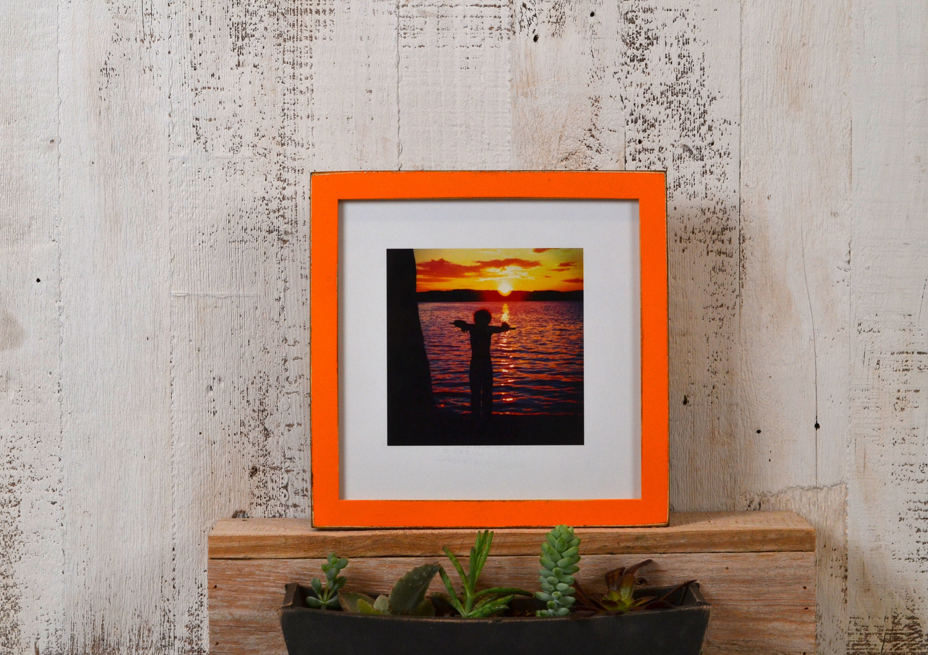 8x8 Square Picture Frame with Vintage Orange Finish in Peewee Style ...