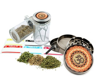 "Om - 2.5"" Zinc Alloy Grinder & 75ml Locking Top Glass Jar Combo Gift Set Item # G123114-0027"