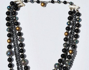 60s 4 four strand beaded necklace and earring set