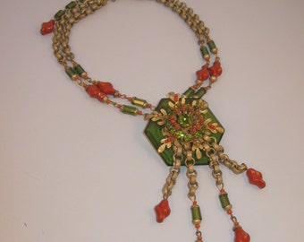 Miriam Haskell Peter Raines Fringe Necklace Coral & Green Glass and Rhinestones