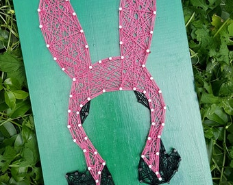 Bob's Burgers Louise Belcher String Art Home Decor Wall Art with Pink Bunny Ears