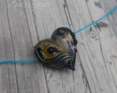Heart shaped bead, peacoc...