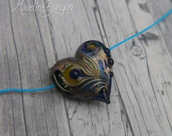 Heart shaped bead, peacock feather bead, horizontal hole heart, pendant bead, necklace bead, Lampwork Focal Bead