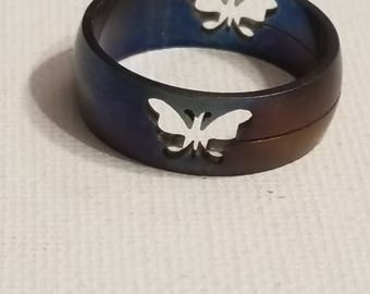 Heat Treated Stainless Ring, Heat Treated Band, Stainless Steel Ring, Two Tone Color, Blue and Pink Hues, Butterfly Cutout Ring, Stainless