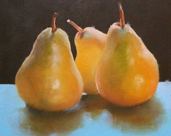 Original small oil painting of pears, fruit painting