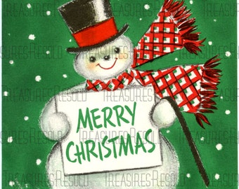 Retro Merry Christmas Snowman Card #207 Digital Download