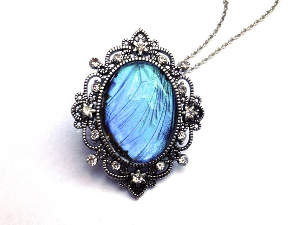 Blue Butterfly Jewelry: Real Blue Morpho Butterfly Wing Necklace Large Crystal Pendant