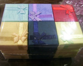 12pcs Jewelry Ring n Earrings Gift Box Square Box with Ribbon Packaging Solutions