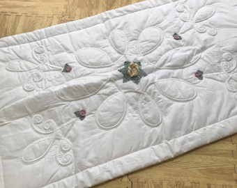 Vintage King Size Pillowcase Sham Ivory & Embroidered Embellishments