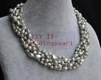 grey pearl choker necklace, real freshwater pearl necklace,4 strands 6-9mm baroque pearl necklace, gray necklace, wedding jewelry