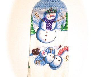 Snowman Snow Angel Christmas Hand Towel With Light Blue Crocheted Top