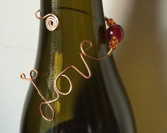 FREE SHIPPING! Love bottle necklace. engagement. wedding. birthday. anniversary. neck charms. wine bottle tag. gift wrapped. wine jewelry.