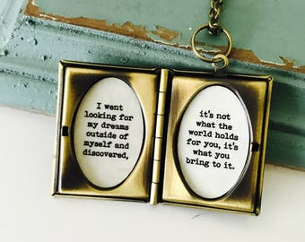 Anne of Green Gables Locket Necklace, Its  not what the world holds for you, it's what you bring to it, keepsake jewelry