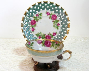 Napco Green With Pink Roses Design Footed Teacup With Pierced Edge Saucer