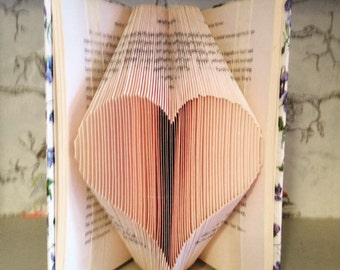 Folded book art pattern for a heart