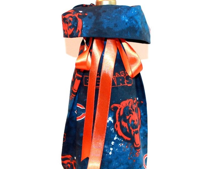 CHICAGO BEARS Fabric Wine ~ Gift Bag ~ Sack ~ Tote ~ Bell Art Designs WB65/66