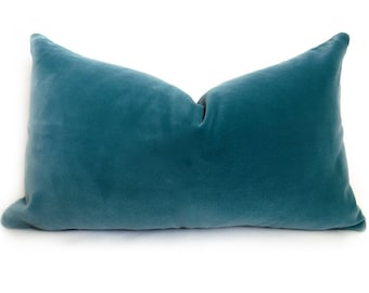 Belgium Cotton Velvet Pillow Cover - Teal - 12x20 inch - BOTH SIDES - Turquoise Pillow - Turquoise Decorative Pillow - Velvet Pillow - Desig