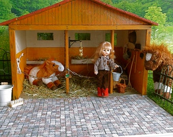 1:6 HANDMADE WOODEN STABLE, a Vintage Delight for 7-9in/16-20cm dolls like Ginny, Licca Chan, Lottie, Mid Blythe and Mini American Girl