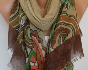 Beige Floral  Cotton Scarf, Spring Summer, Cowl Oversize Wrap Pareo Gift For Her Women Fashion Accessories Mother Birthday Gift