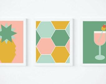 Summer Pineapple Trio Printable Wall Art