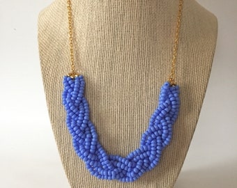 Periwinkle Beaded Braid Necklace