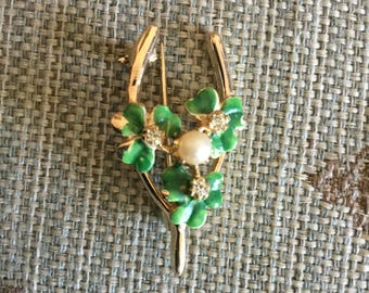 Vintage St Patricks Day Enamel Wishbone 4 Leaf Clover Pin