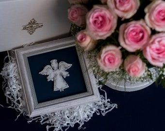 Blue guardian angel decor, blue framed art, guardian angel art, guardian angel decor, guardian angel wall, guardian angel walhanging