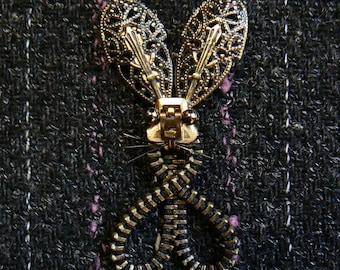 Easter Bunny Zipper Brooch