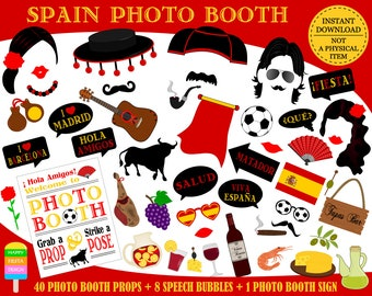 PRINTABLE Spain Photo Booth Props–Spanish Photo Props-Spanish Party Props-Fiesta Props-Spain Photo Props-Spanish Props-Instant Download